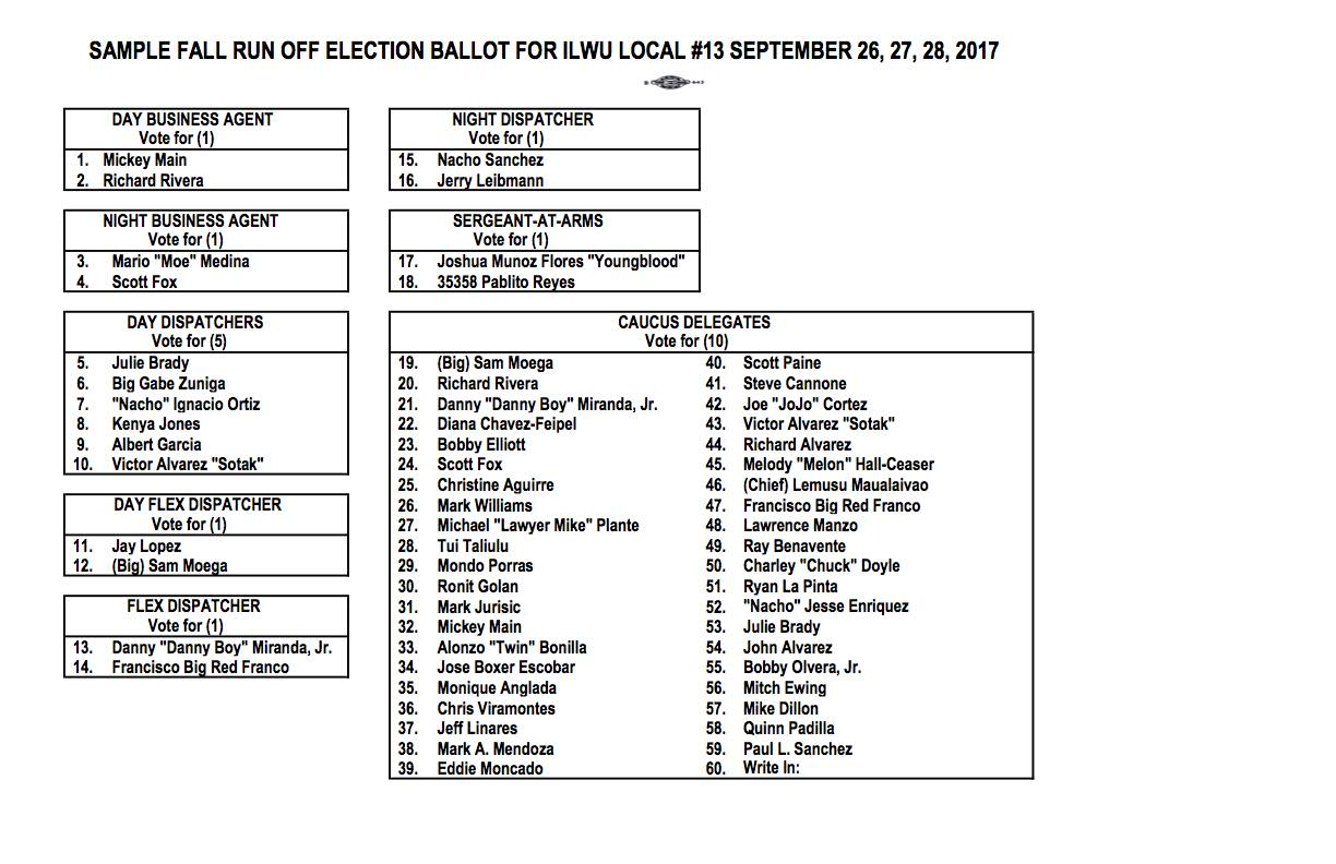 2017 Fall Election Run Off Sample Ballot