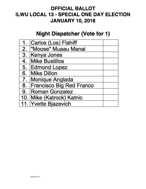 2018 SPECIAL ONE DAY ELECTION FOR NIGHT DISPATCHER