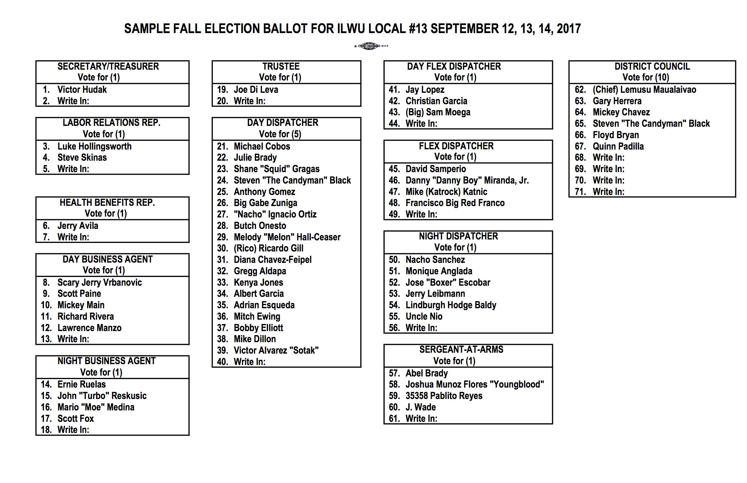 2017 Fall Election Ballot Sample